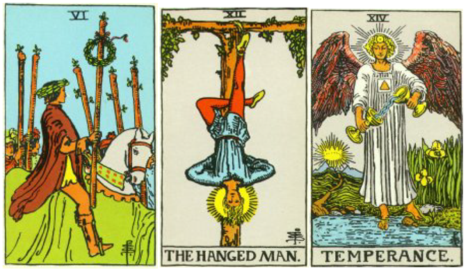3 card Tarot Spread: 6 of Wands, Hanged Man and Temperance: Tarot and Handwriting Reading