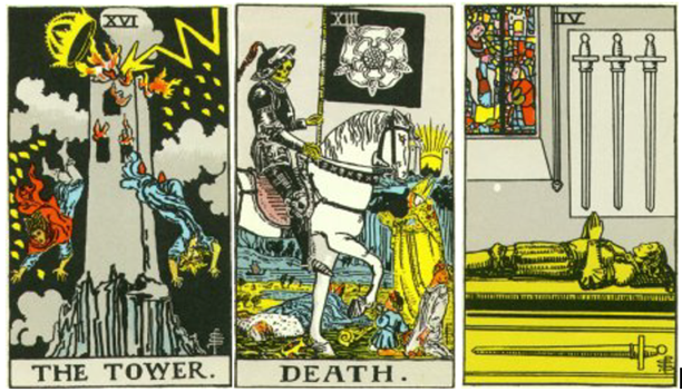 Tower, Death card, 4 of Swords 3 card Tarot reading