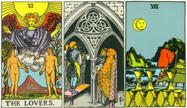 Tarot Reading: The Lovers, 3 pentacles, 8 cups Tarot Cards