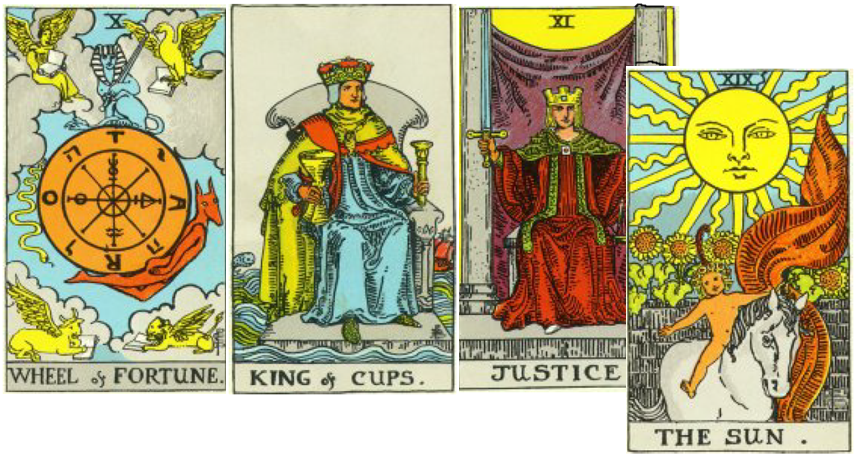 Tarot Cards: Wheel of Fortune, King of Cups, Justice and The Sun