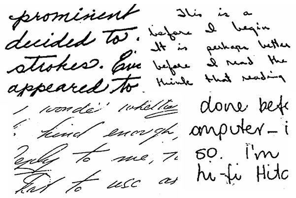Handwriting with varied slants and pressure showing Emotional Expression and Depth of Emotion