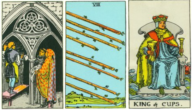 Biggest financial obstacle:3 card Tarot Spread: 3 of Pentacles, 8 of Wands and the King of Cups.